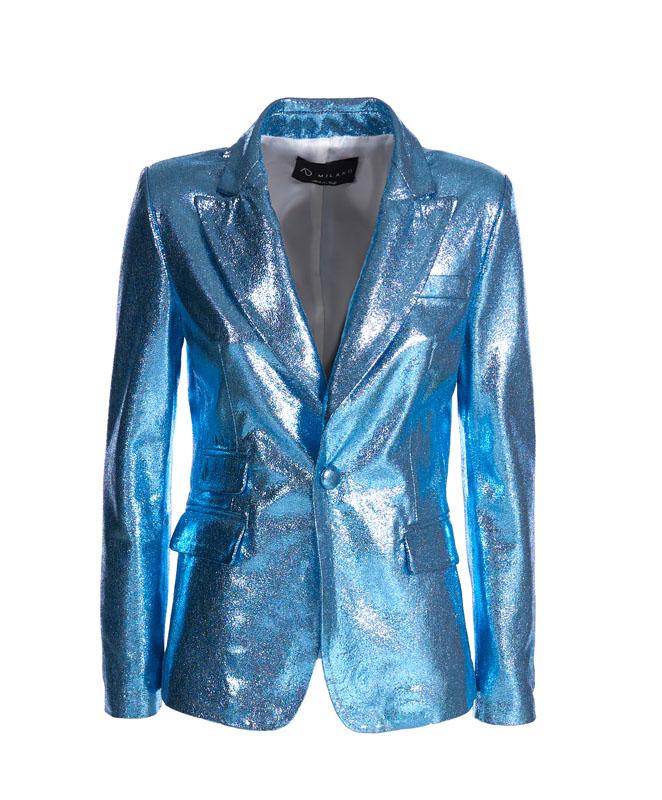 Genuine Leather Jacket - Art. Amman light blue laminated
