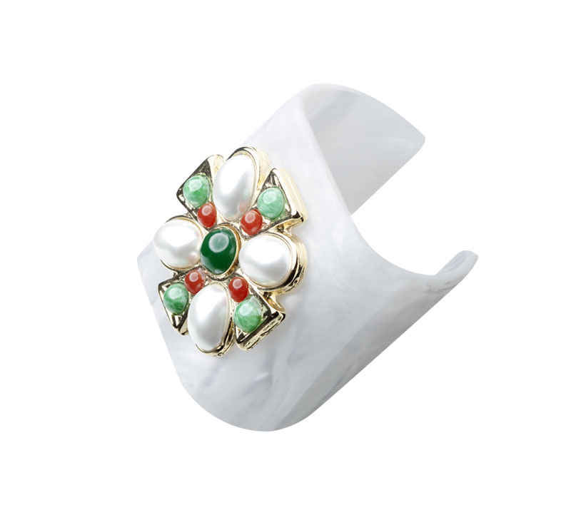 White plexi bracelet with cross and stones