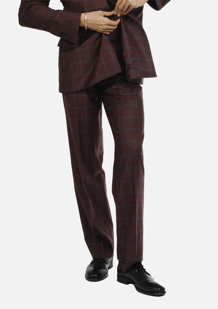 Trousers - Art. REI TROUSERS V9AGT.24FW21-22 - BORDEAUX CHECK