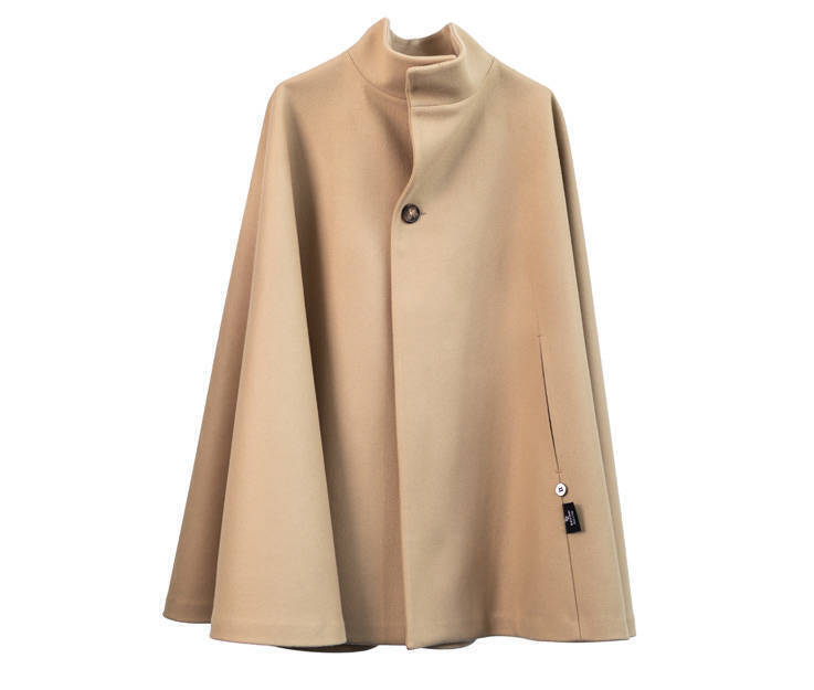 Cloak in Virgin wool and Camel fabric