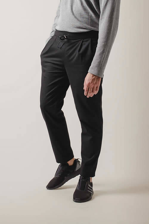 Black Trousers with Pinces and Coulisse